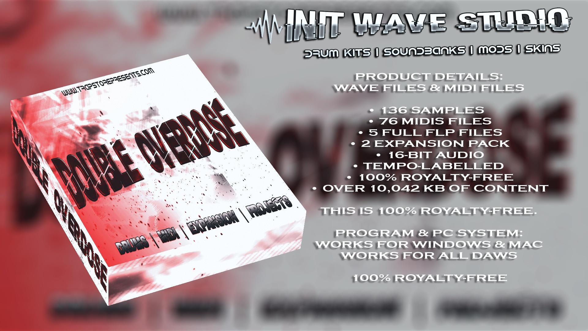INIT WAVE STUDIO - DOUBLE OVERDOSE DRUM KIT (WAVS, MIDI FLPS, EXPANSIONS, TEMPLATE)