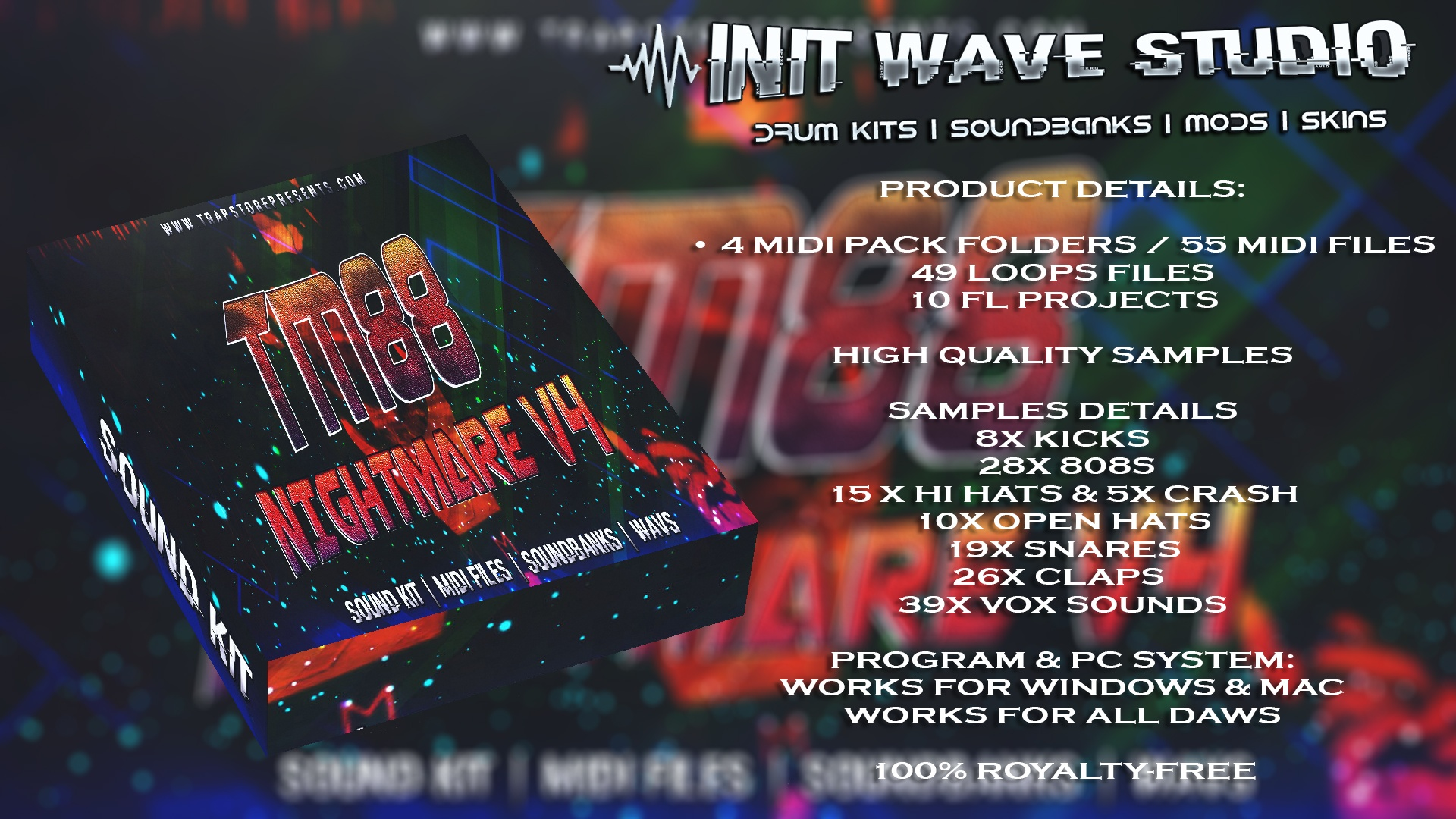 INIT WAVE STUDIO - TM88 NIGHTMARE V4 (WAVS, MIDI, MIXING PRESETS, FLPS, EXPANSIONS)