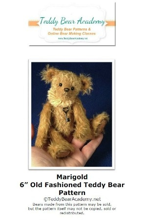 "Marigold - 6"" Miniature Teddy Bear Pattern w/ resell rights of finished bear"