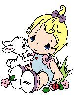 Precious Moments - Blonde Girl with Bunny