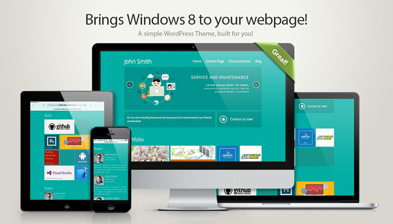 simpleMetro - Windows 8 Style for your WordPress