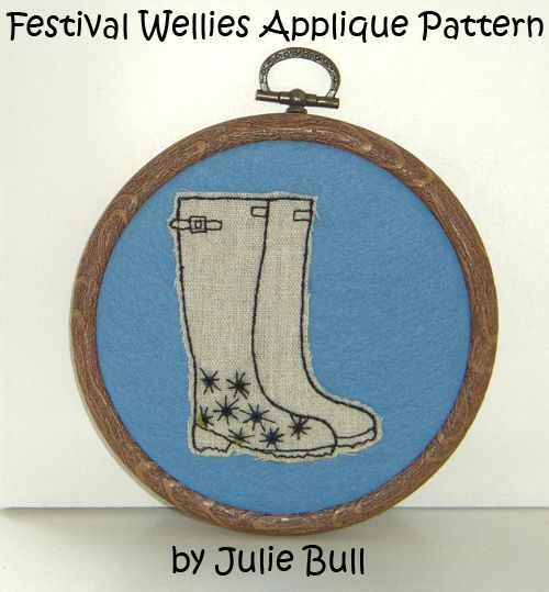Festival Wellies Hand Applique/ Embroidery Pattern