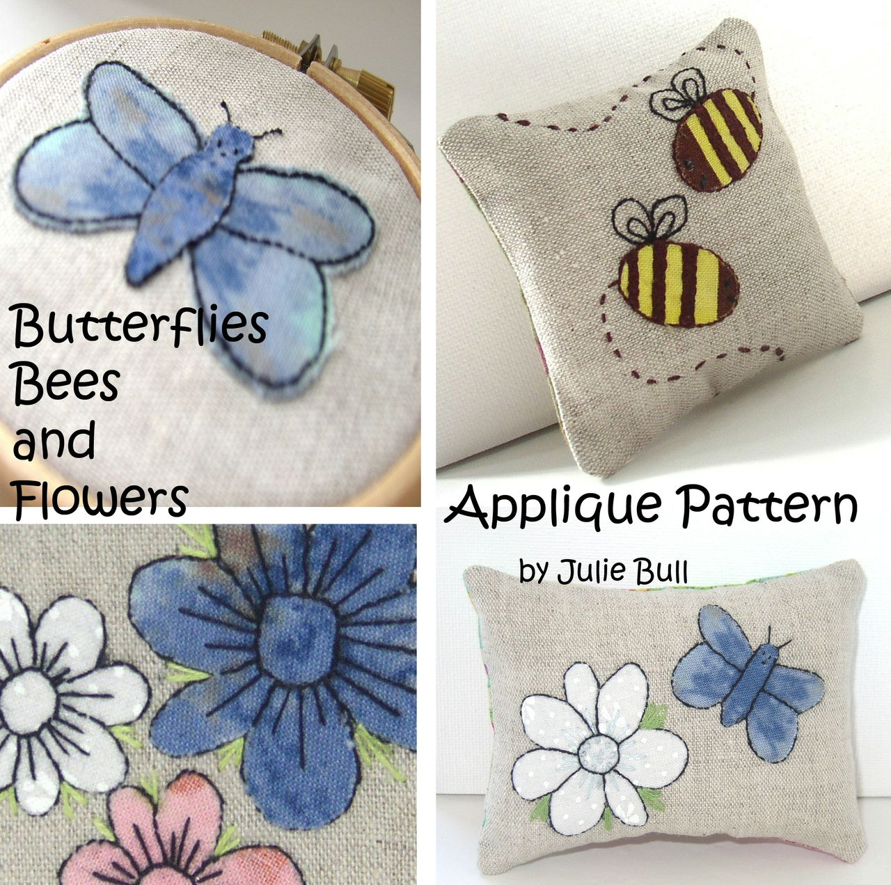 Butterfly Bees And Flowers Hand Applique Embroidery Pattern