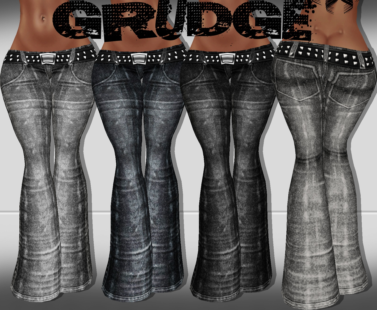 GRUDGE FLARE JEANS RL, RLL , RLS 3 TEXTURES.