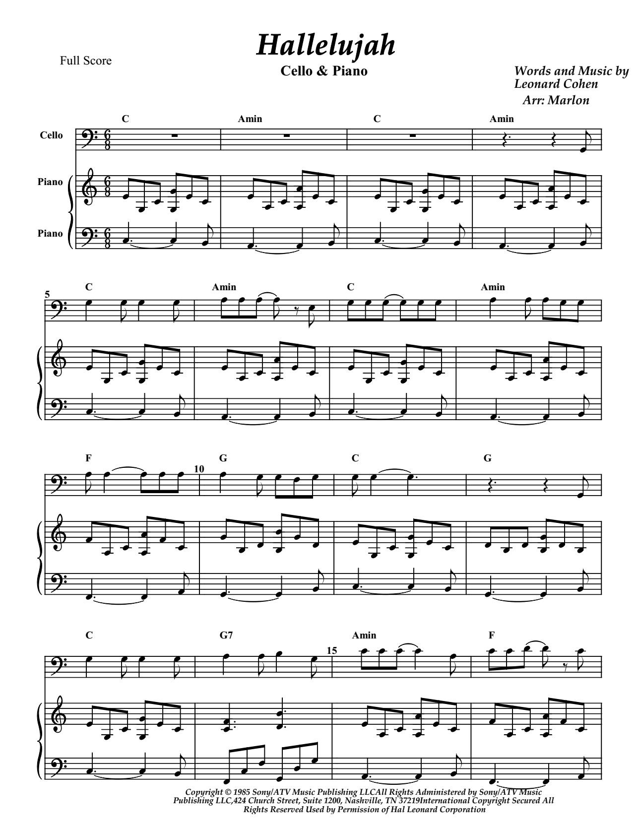 Hallelujah for Cello and piano