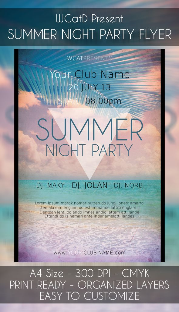 Minimal Summer Night Party Flyer Template