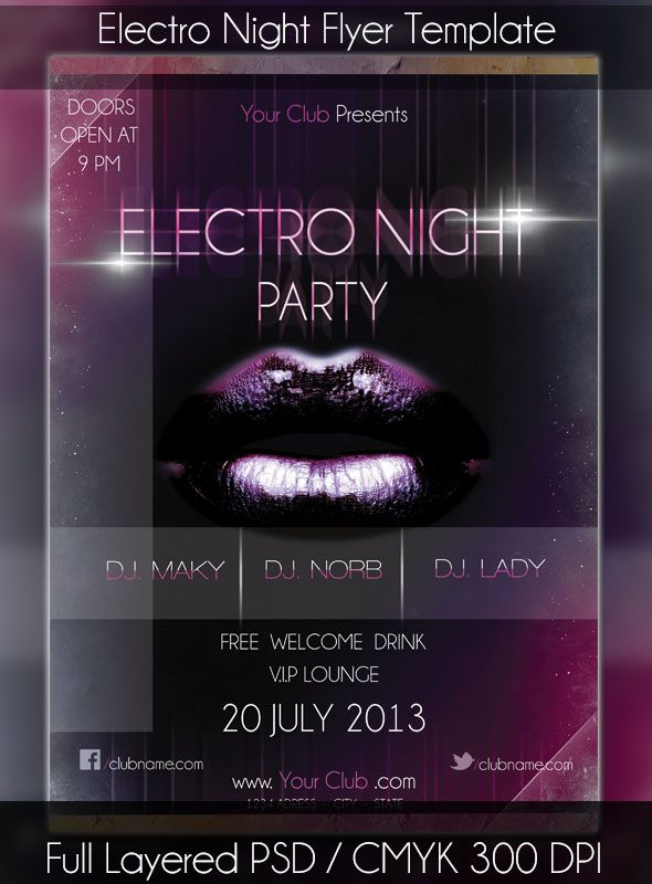 Electro Night Party / Event Flyer Template
