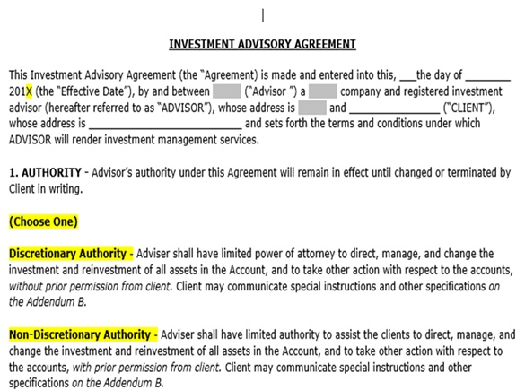 California Advisors Advisory Agreement