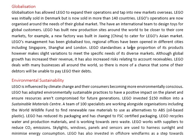 State Ranking HSC Business Studies Report - LEGO Case Study (20/20)