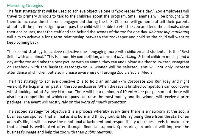 State Ranking HSC Business Studies Marketing Plan - Taronga Zoo Case Study (20/20)