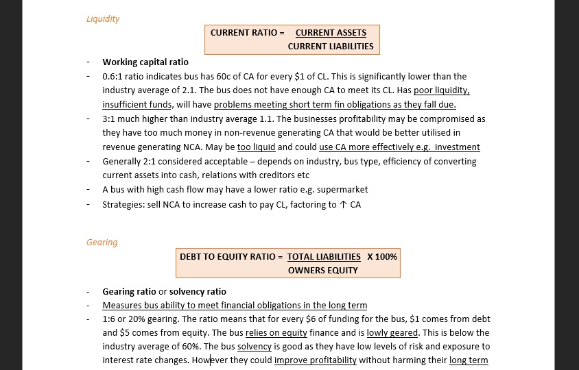 State Ranking HSC Business Studies Study Notes (All 4 Topics)