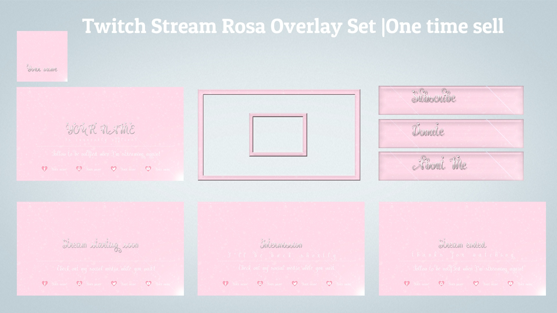 Twitch Stream Rosa Overlay Set one time sell