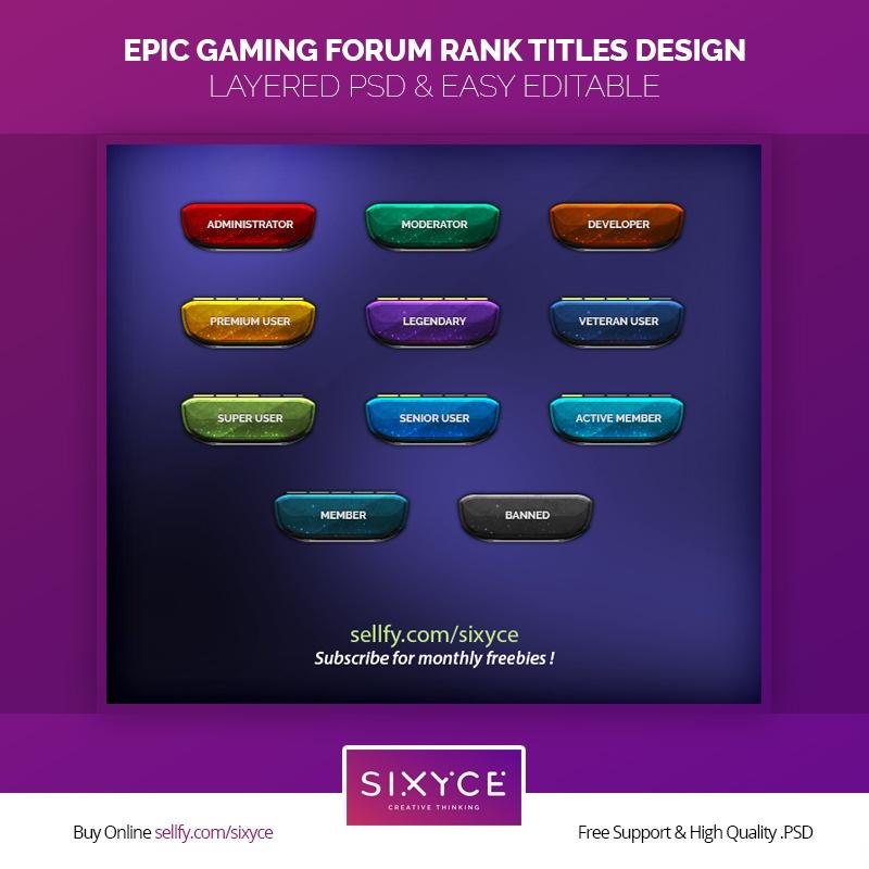Epic Gaming Forum Ranks Titles Design
