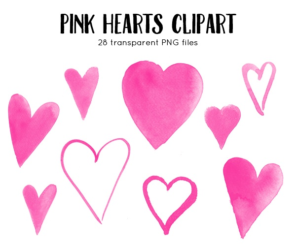 watercolor hearts clipart pink