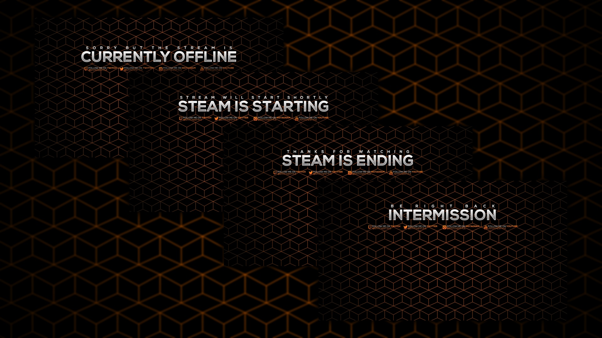 Animated Orange Paterned Twitch Screens Template