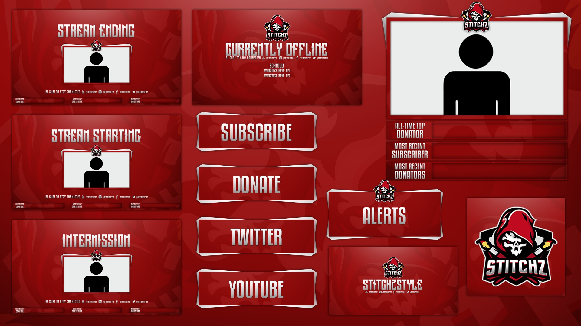 Red Mascot Twitch Rebrand and Overlay Template Pack (Easy to Customize)