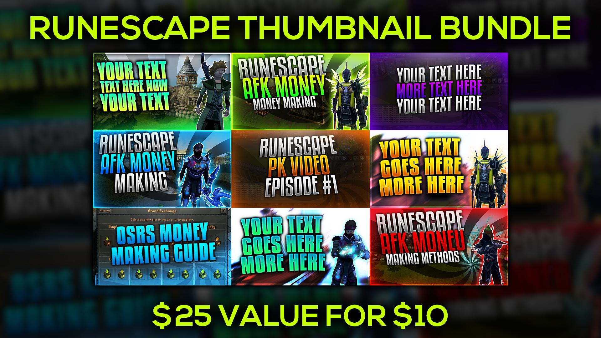 Runescape Thumbnail Template Bundle Pack