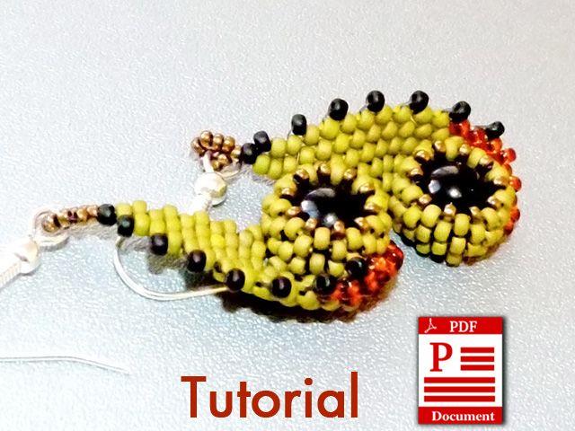 Original bead weaving earrings tutorial - Eyes of Owl