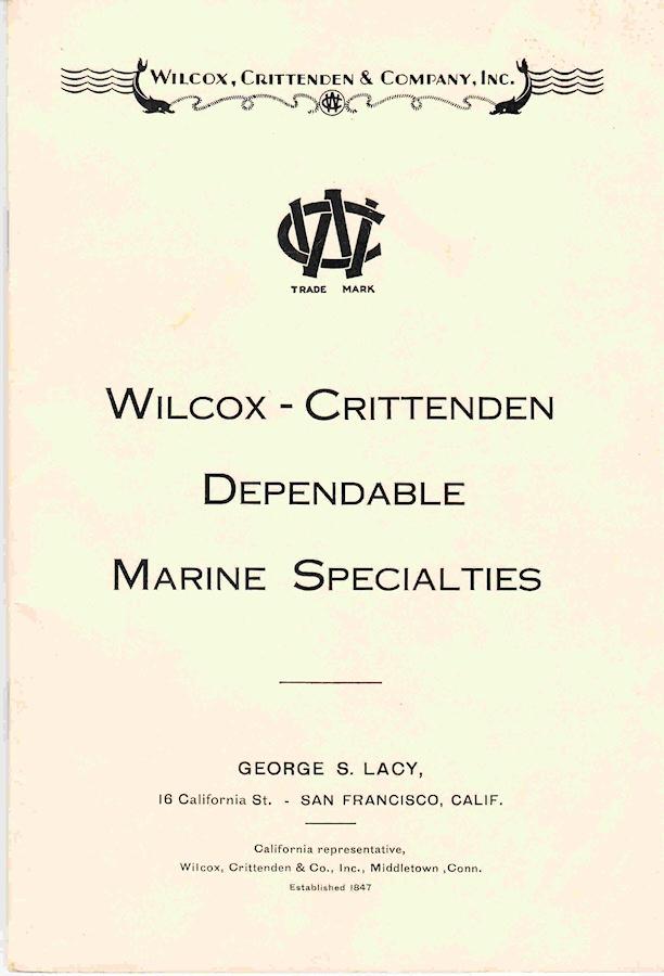 1929 Wilcox Crittenden Dependable Marine Specialties