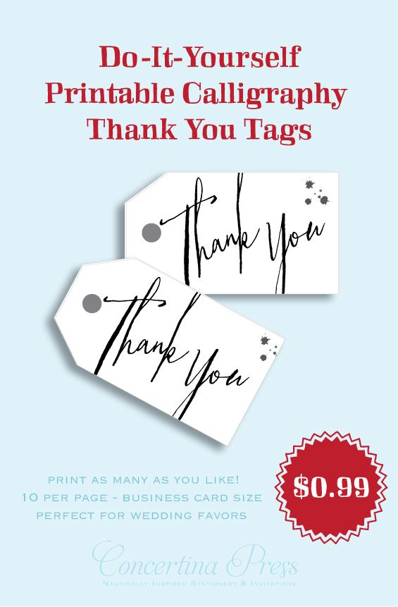 Printable Thank You Favor tags by Concertina Press - Vermandois