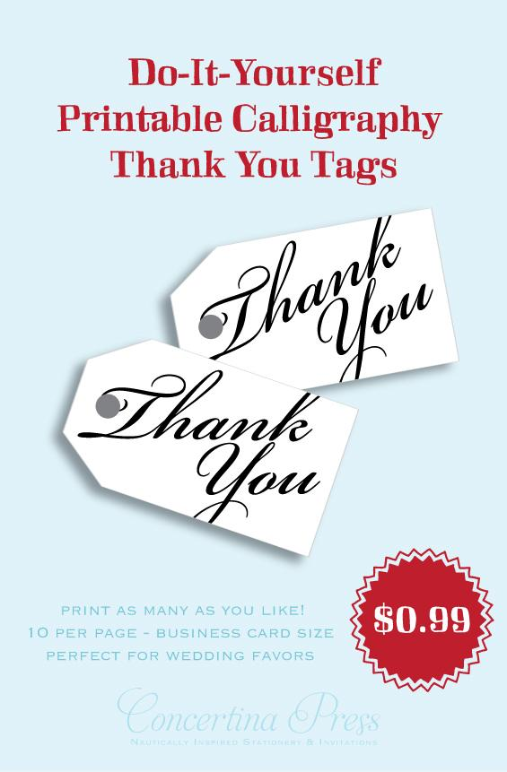 Print your own thank you gift tags by Concertina Press - Bickham
