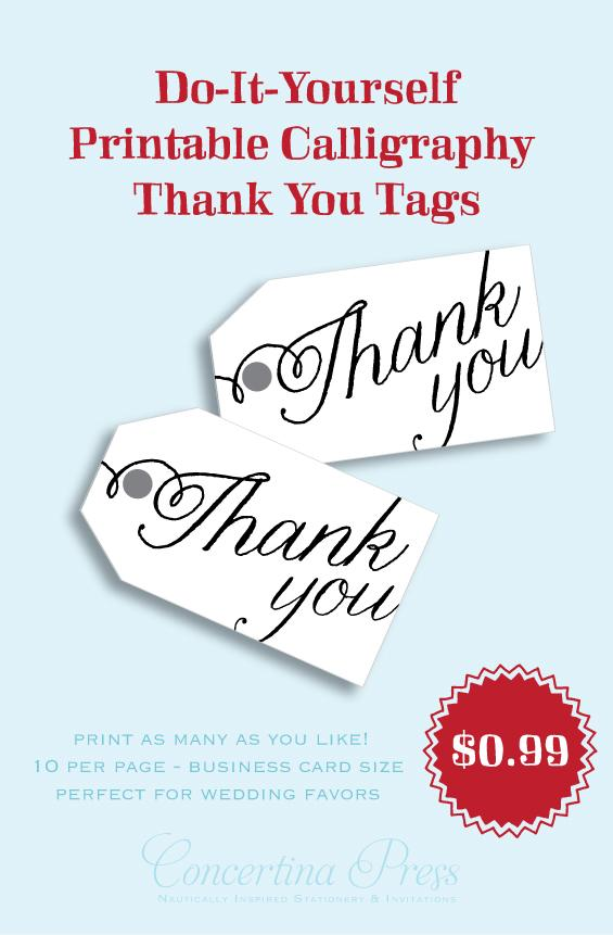 DIY printable Thank You Wedding Favor Tags by Concertina Pres - Nelly