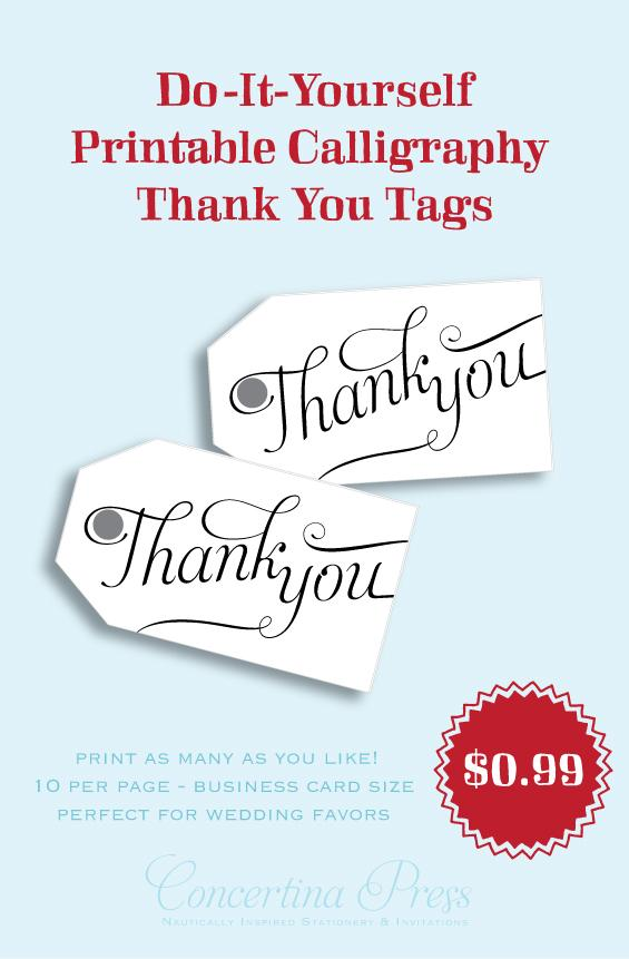 Printable Thank You gift tags by Concertina Press - Aphrodite