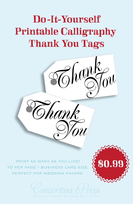 DIY printable Thank You calligraphy tags by Concertina Pres - Nelly