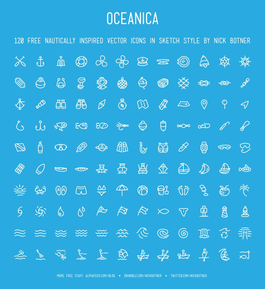 Oceanica, 120 Nautical Vector Icons