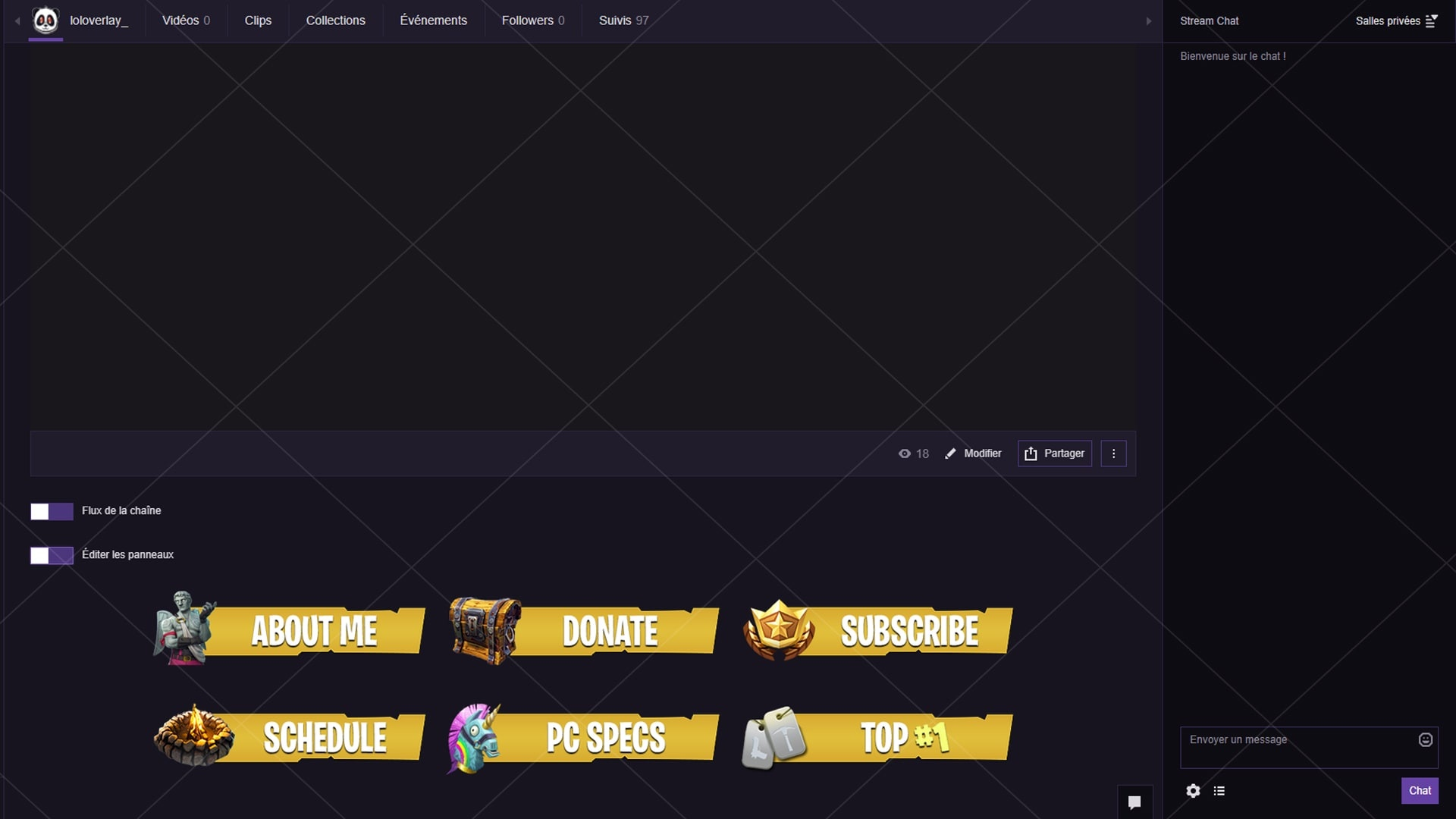 [YELLOW / GOLD]  FORTNITE - TWITCH PANELS (22 PNG)