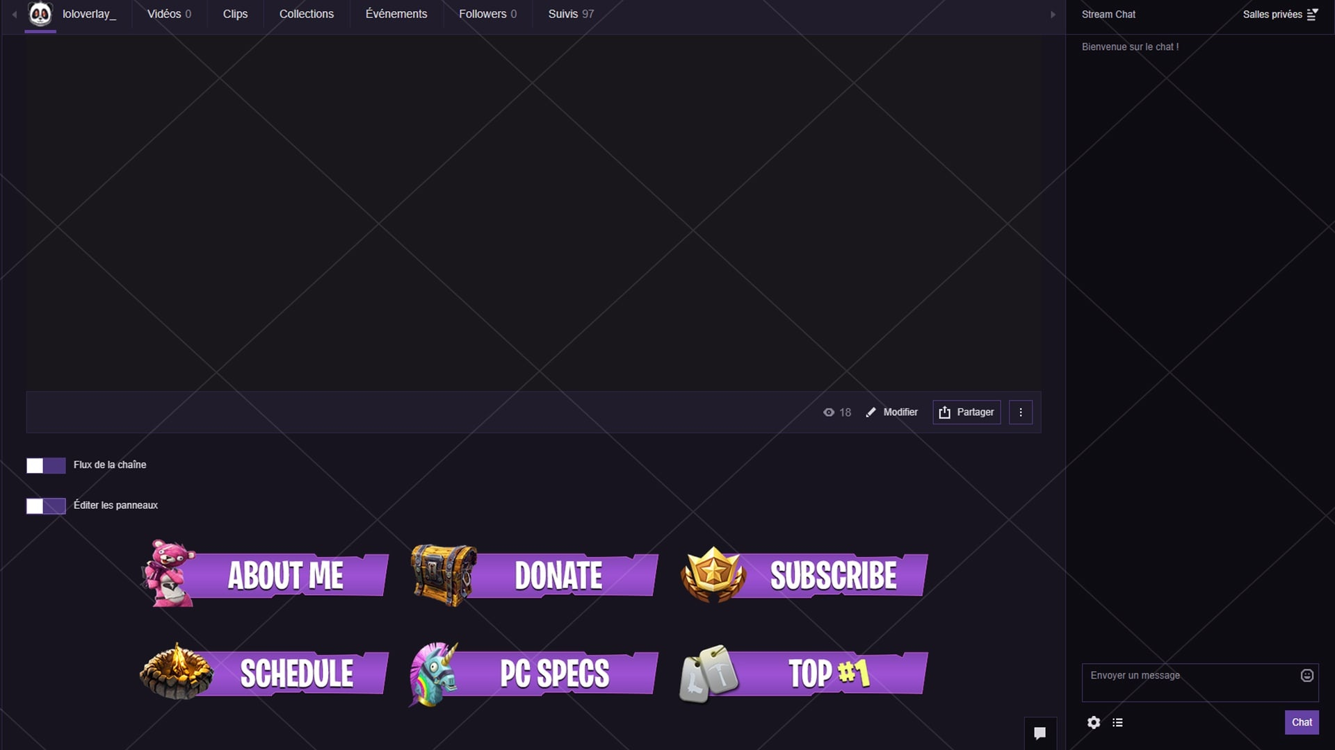 [PURPLE] FORTNITE - TWITCH PANELS (22 PNG)