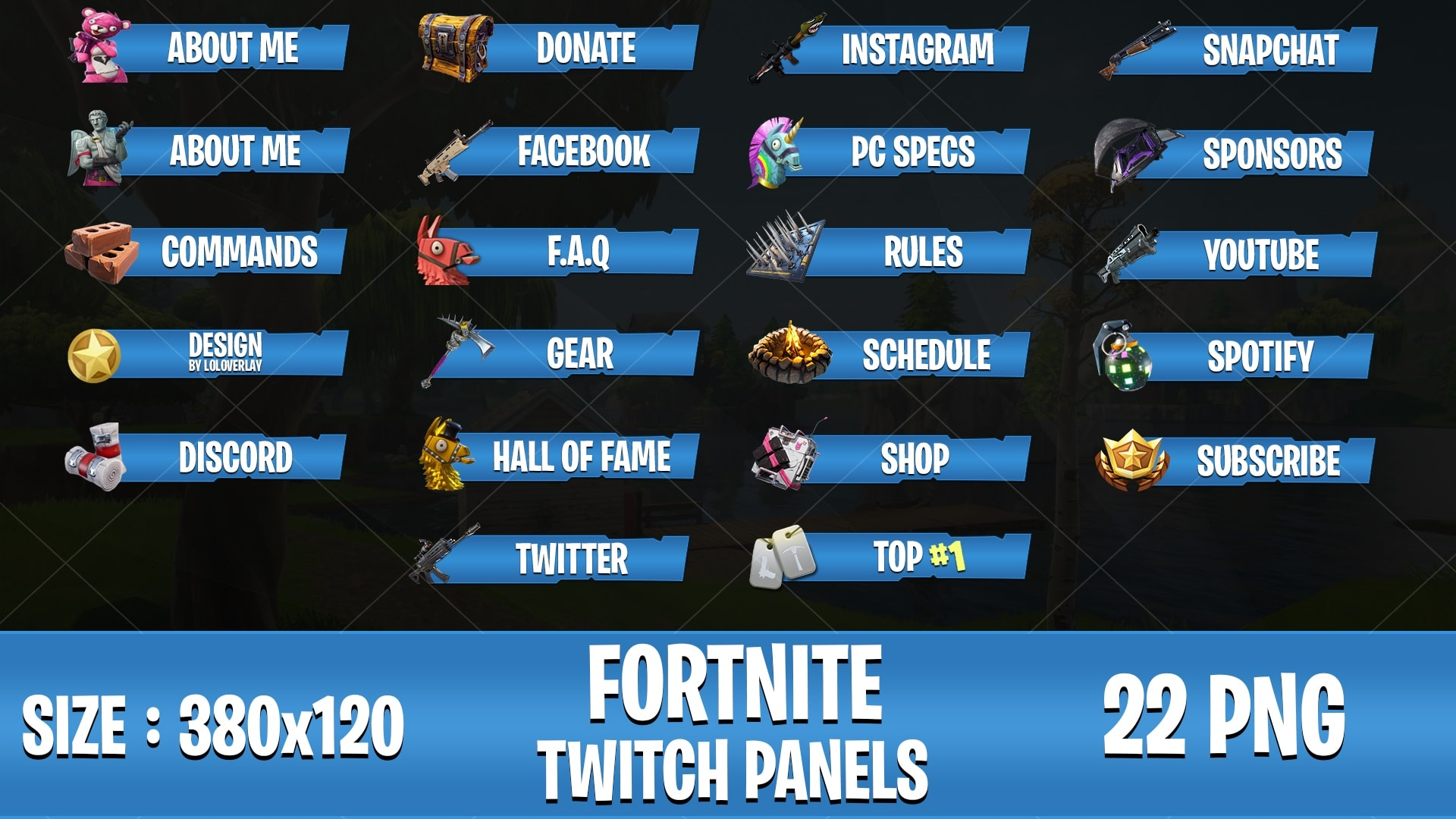 [BLUE] FORTNITE - TWITCH PANELS (22 PNG)