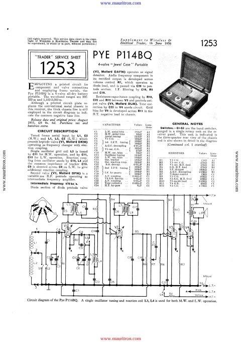 Pye P114bq Service Schematics Mauritron Technical