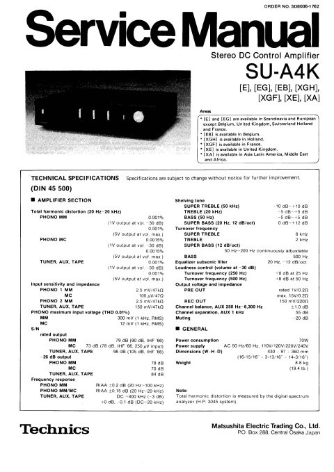 Technics SUA4 Service Manual