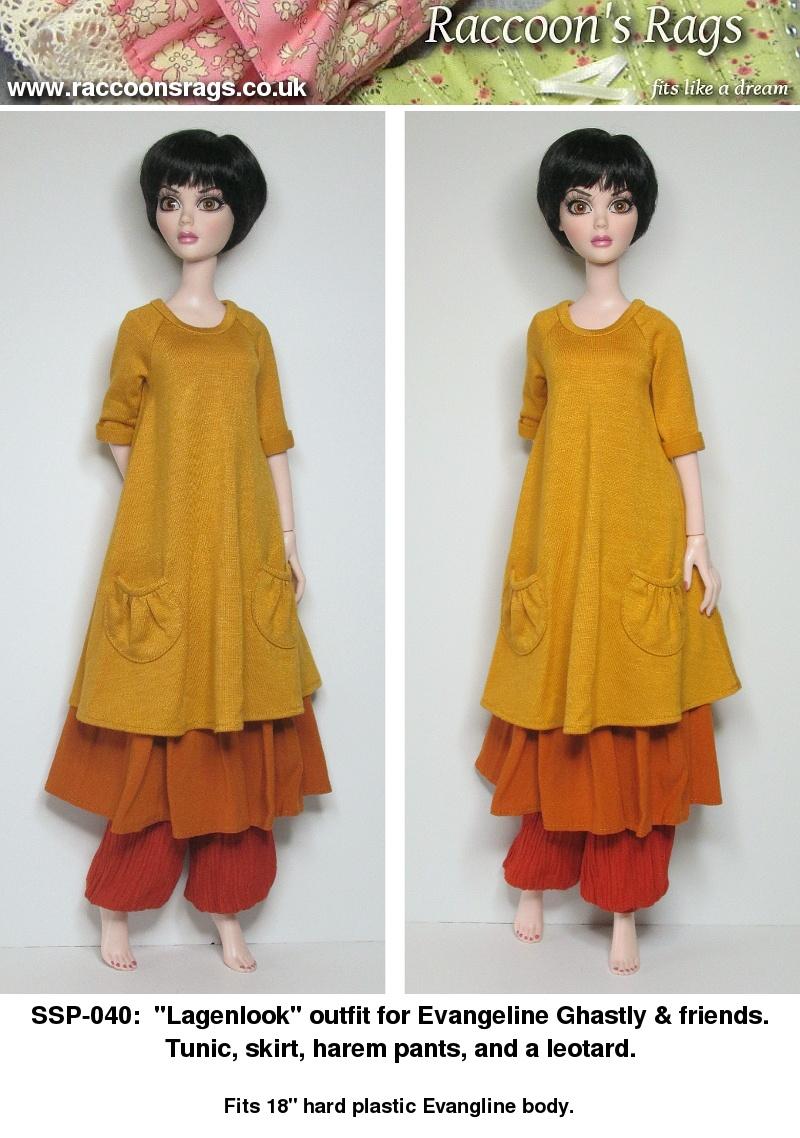 SSP-040: Tunic, Skirt, Harem pants, and leotard for Evangeline & friends.