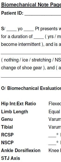 Biomechanical Note Worksheet