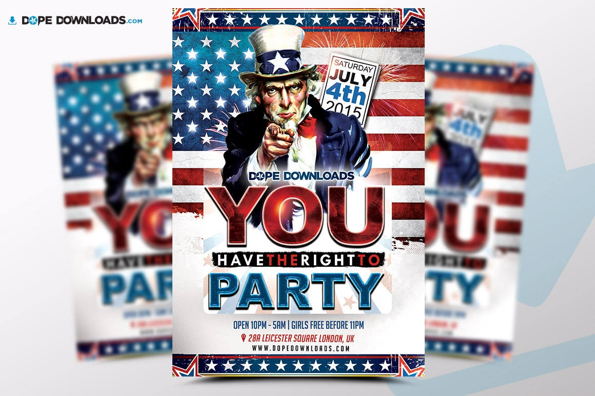 You Have The Right To Party 4 of July Flyer Template