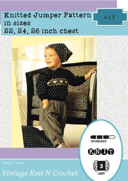 Instant Download 417. Knitted Heart Fairisle Jumper Knitting Pattern - PDF - download keep baby warm