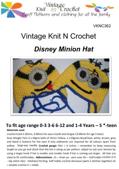 VKNC362 Disney Minion Crochet Hat Pattern One eyed and two eyed