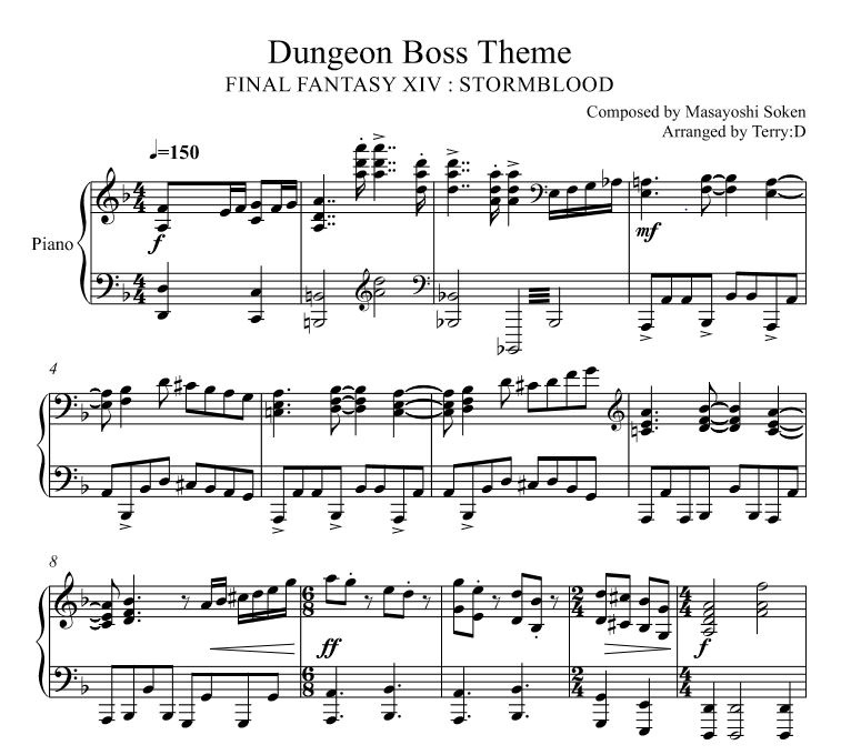 Final Fantasy XIV : STORMBLOOD dungeon Boss theme for piano solo (Arr.by Terry:D)