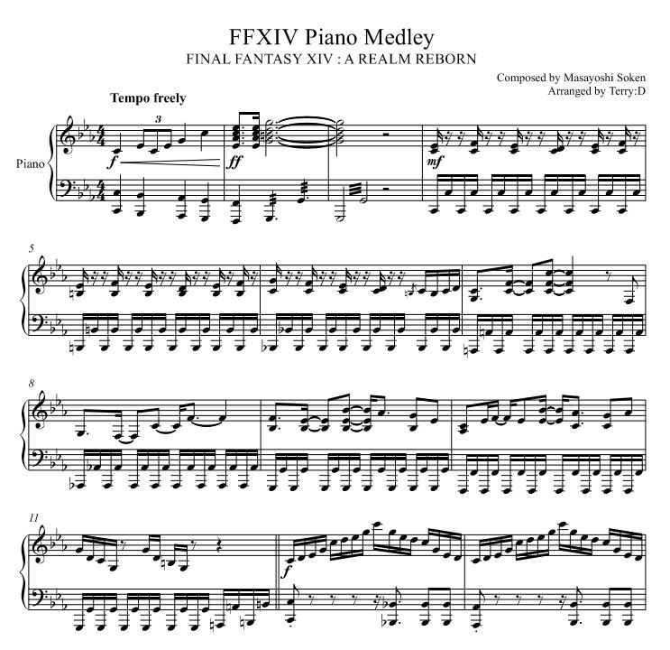 FFXIV piano medley (Arr.by Terry:D) -sheetmusic-