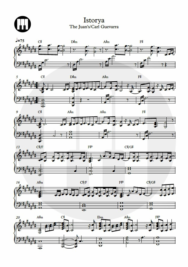 Istorya- Piano Sheet Music  by The Juans