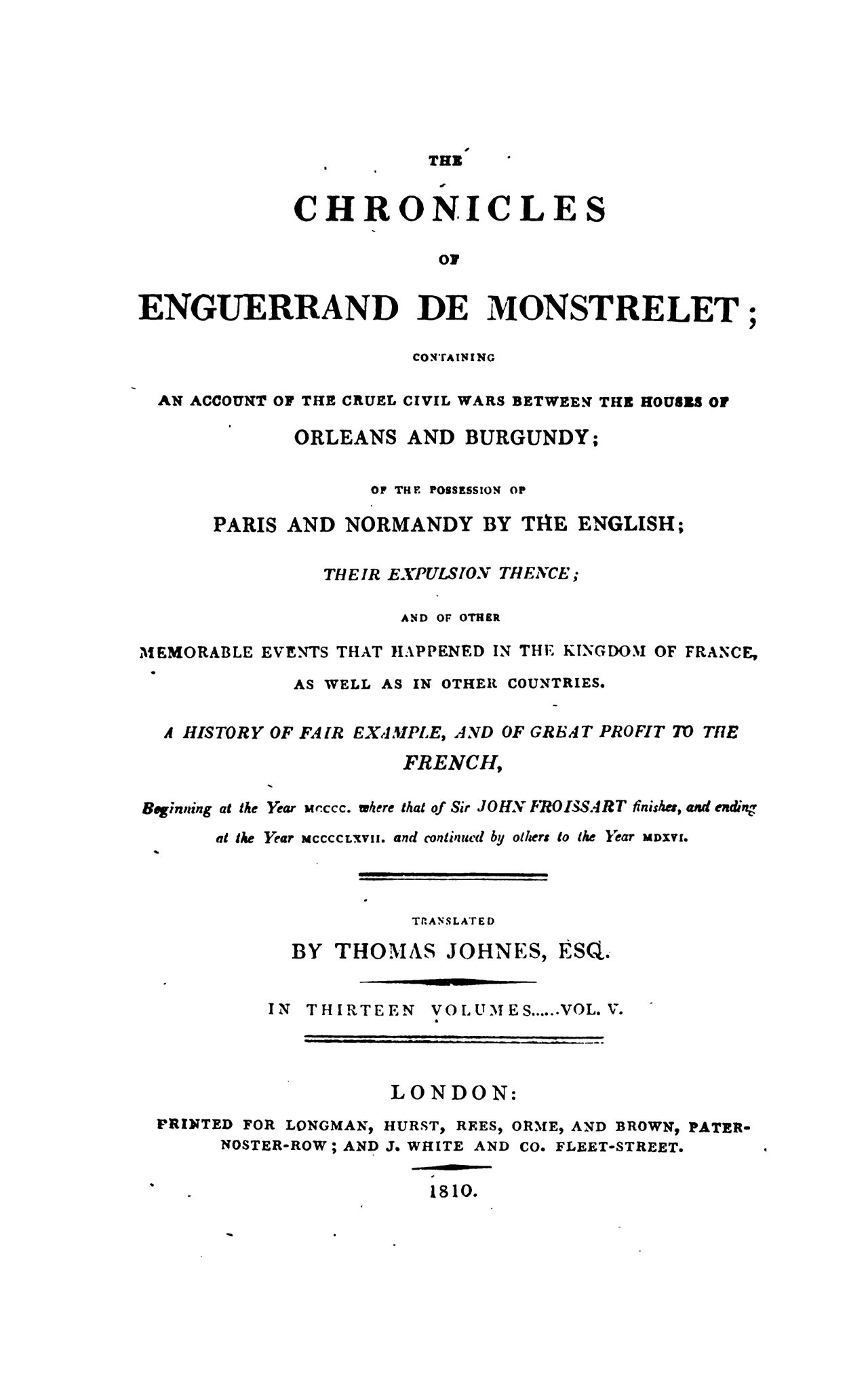 Enguerrand de Monstrelet chronicle vol.5