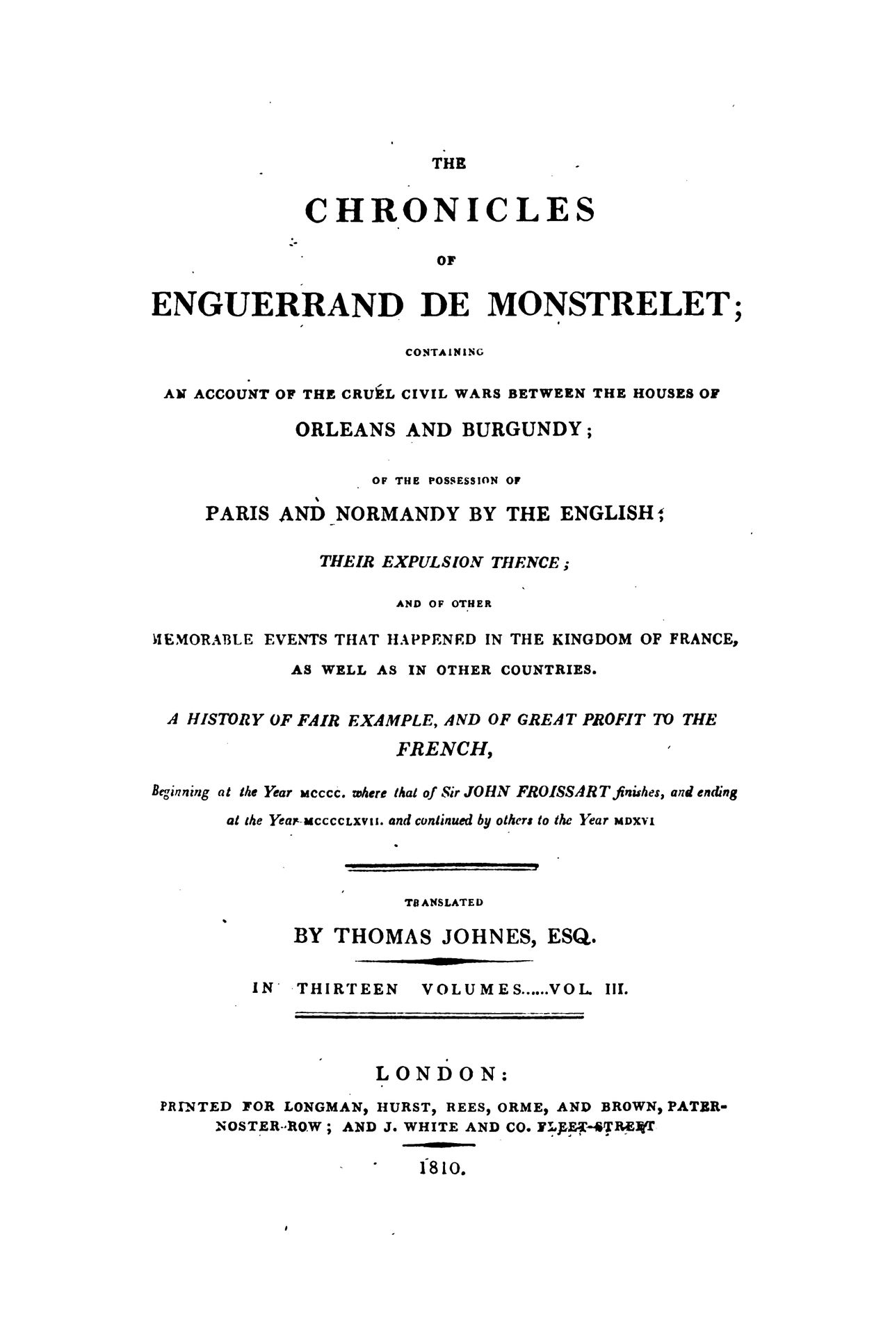 Enguerrand de Monstrelet chronicle vol.3