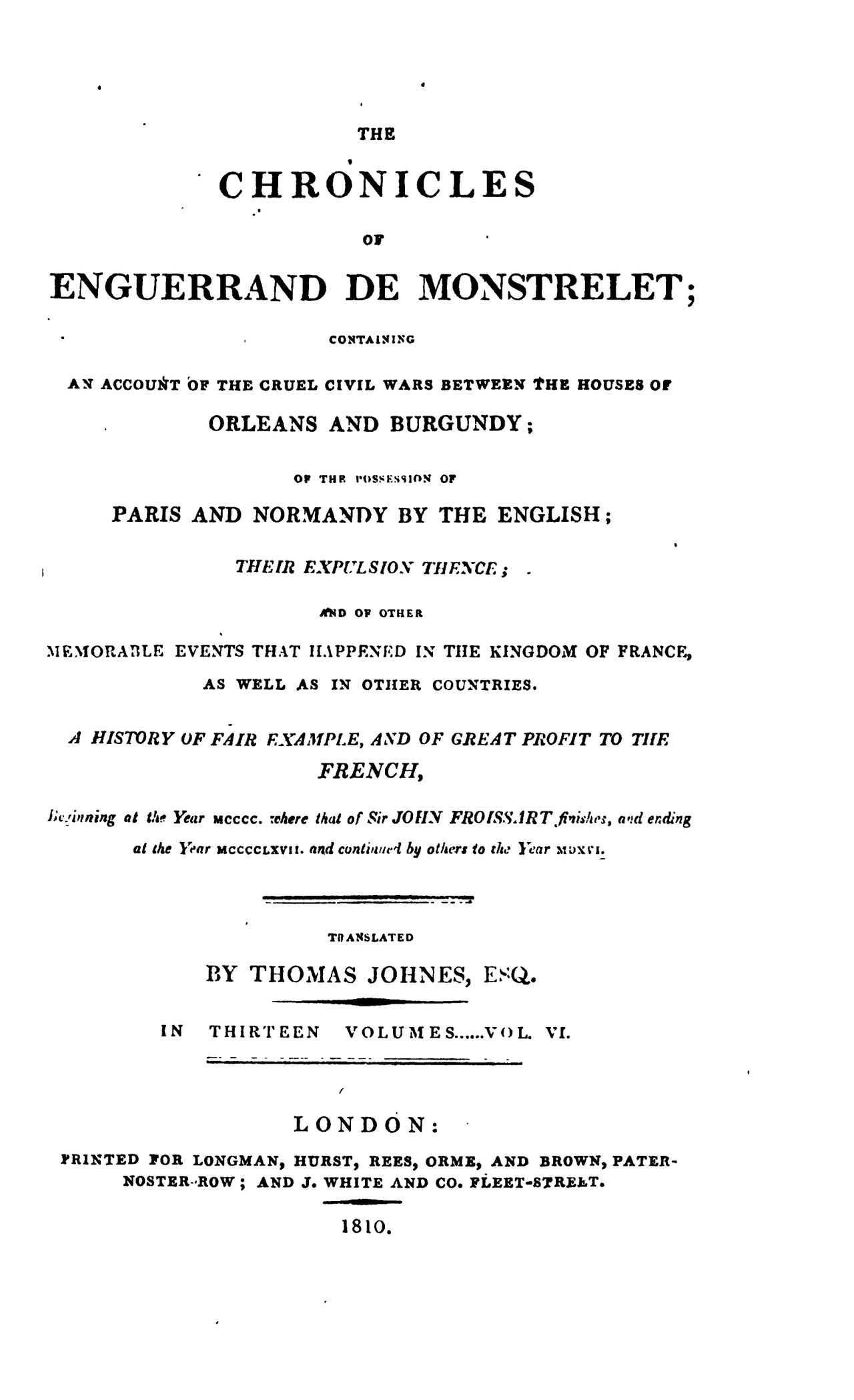 Enguerrand de Monstrelet chronicle vol.6