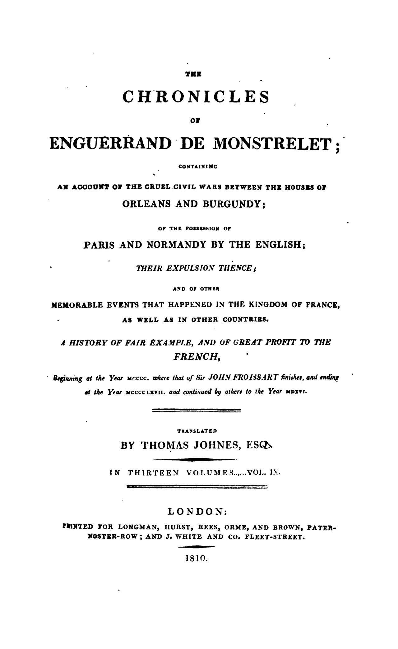 Enguerrand de Monstrelet chronicle vol.9