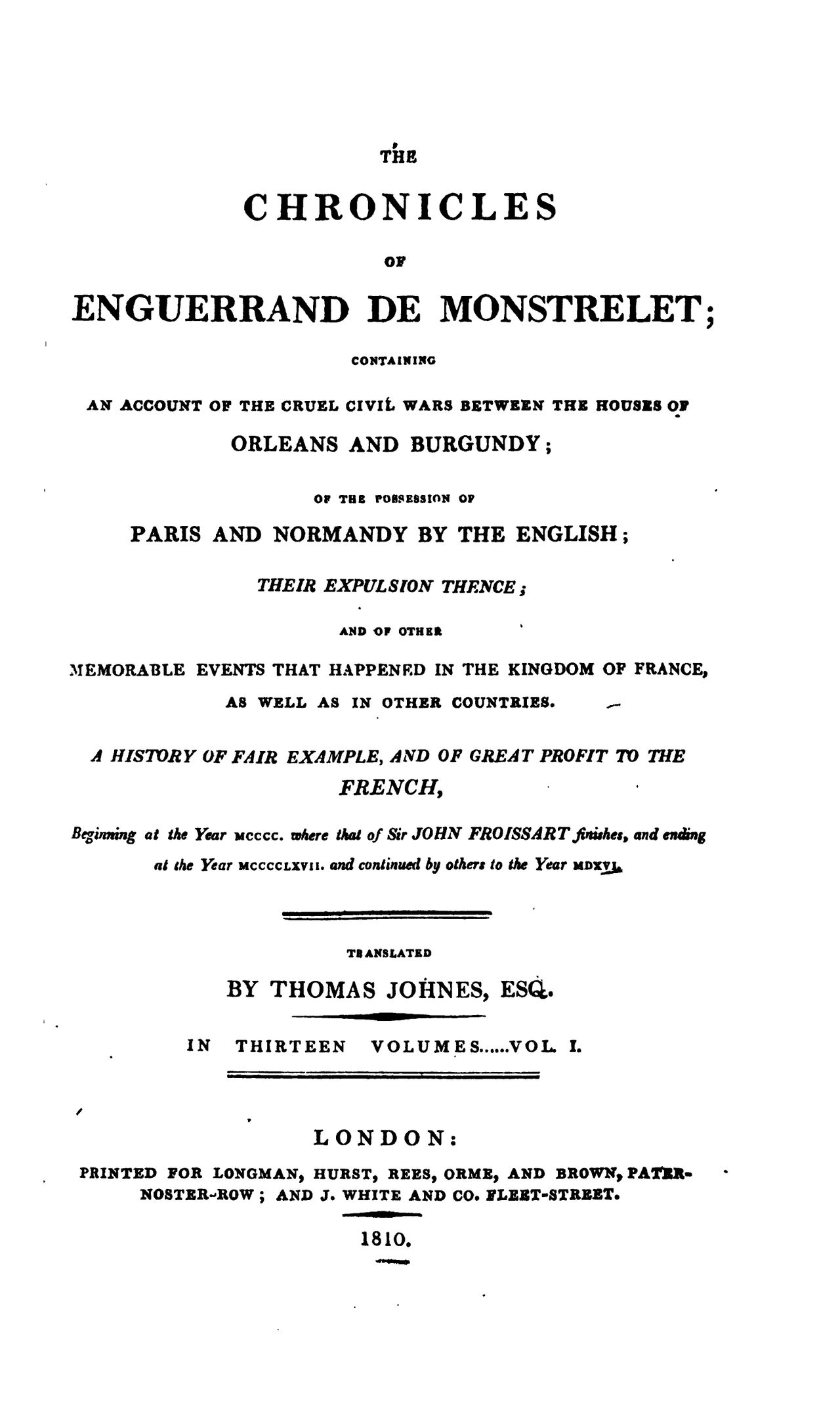 Enguerrand de Monstrelet chronicle vol.1