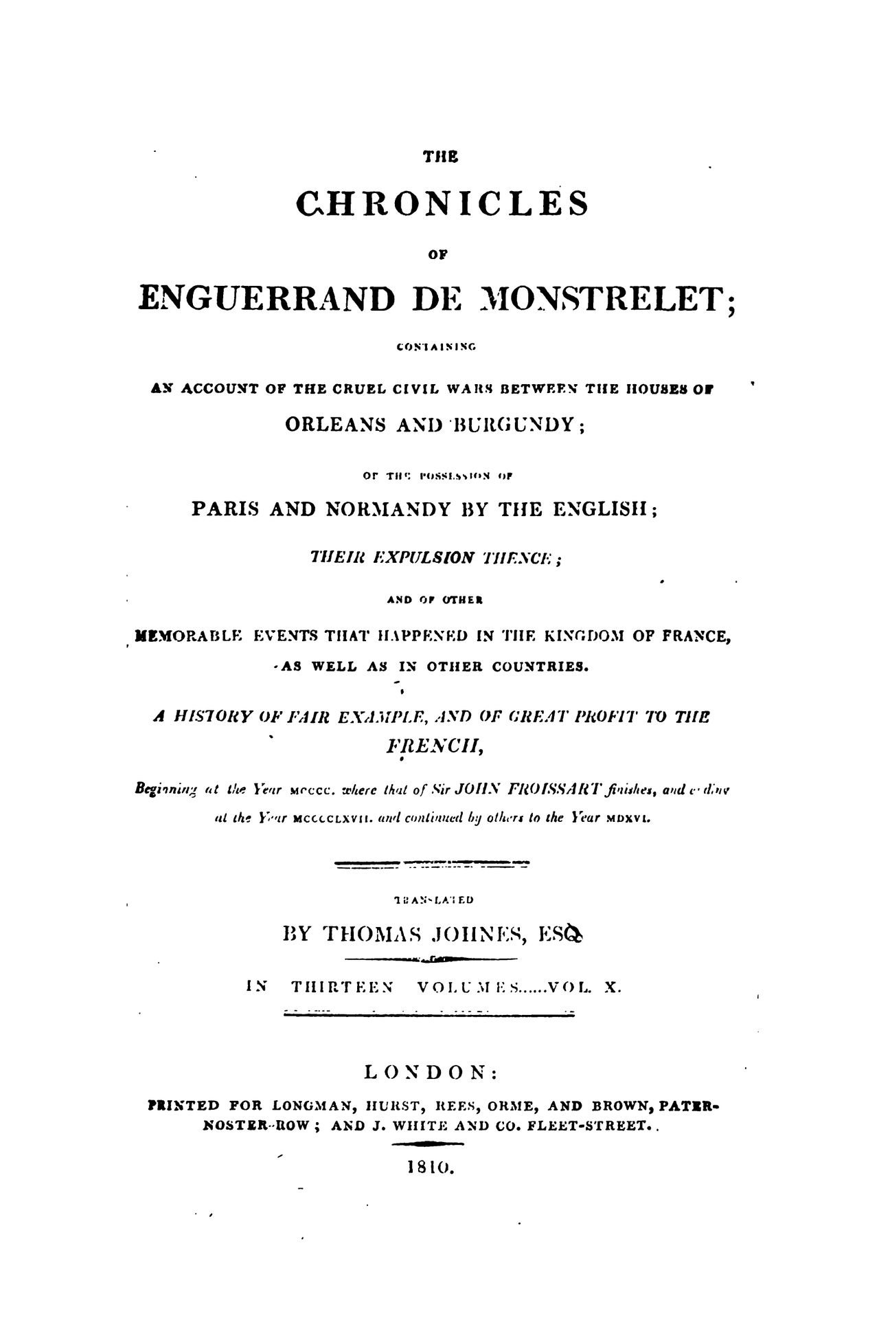 Enguerrand de Monstrelet chronicle vol.10