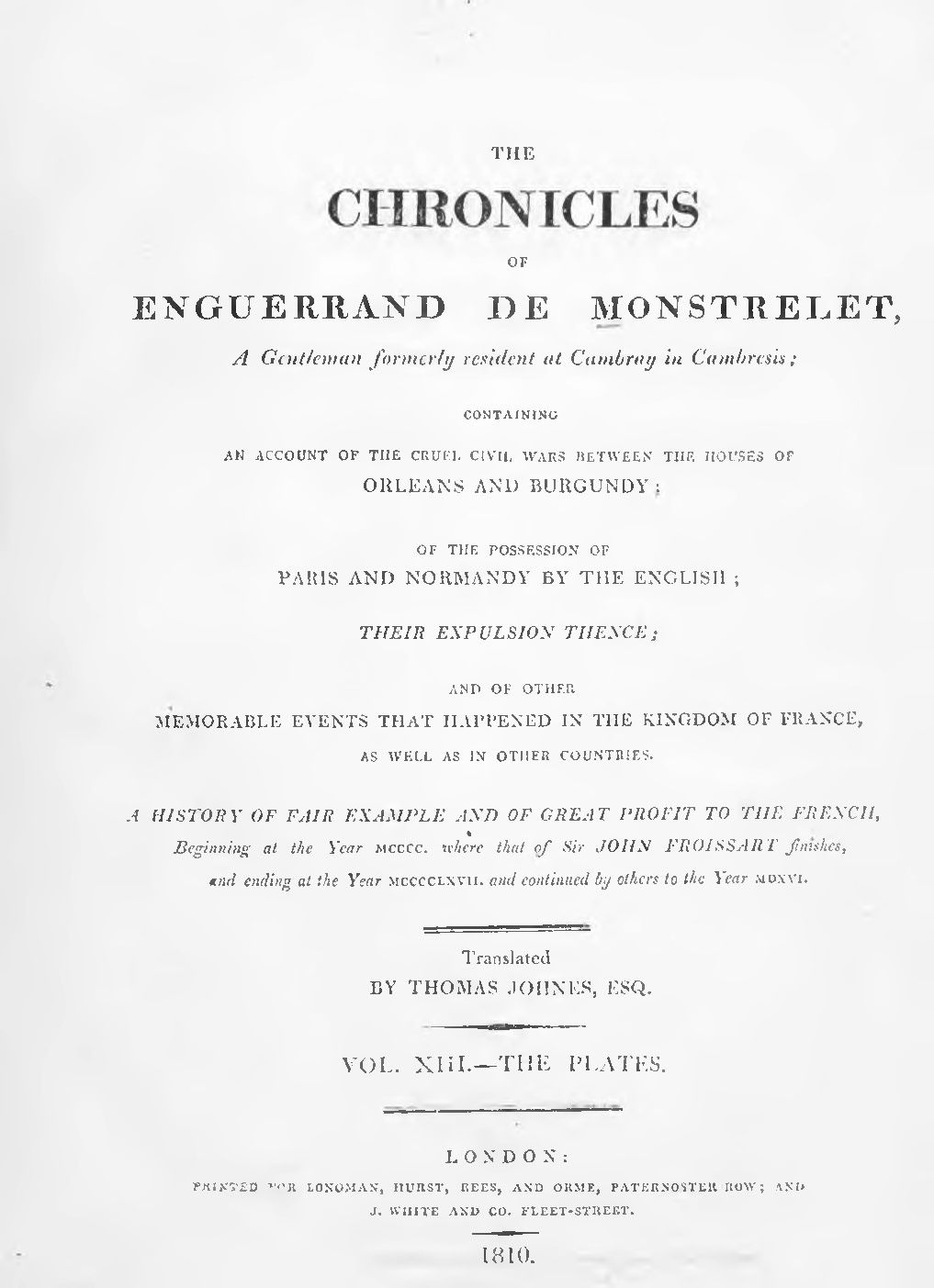 Enguerrand de Monstrelet chronicle vol.13