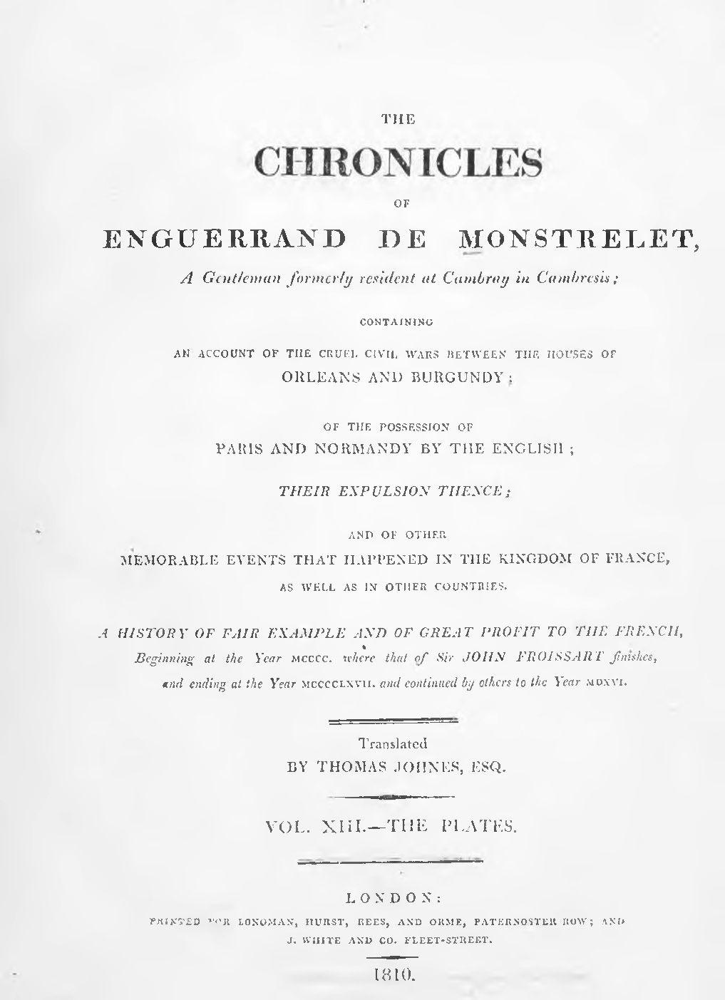 Enguerrand de Monstrelet chronicle vol.13